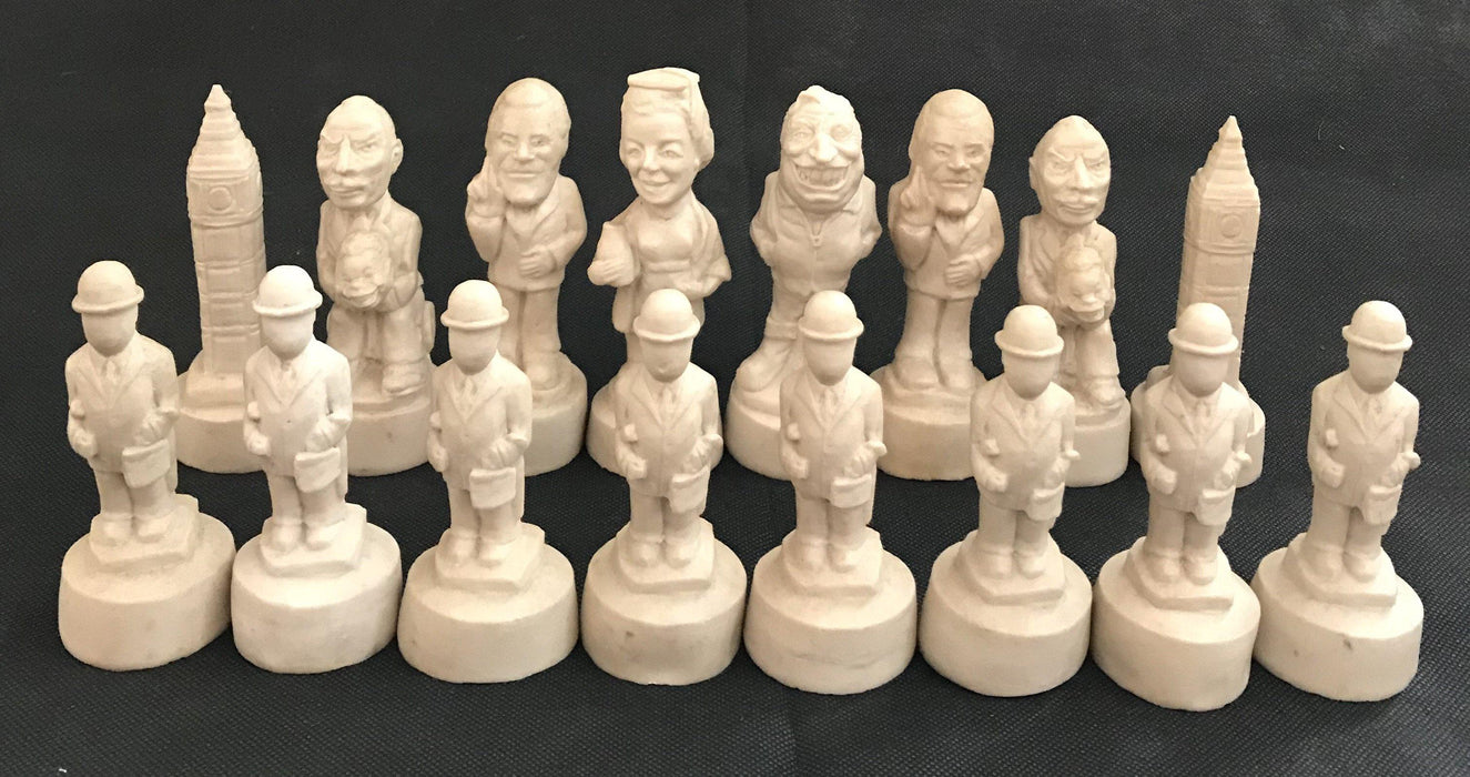 Antique British Chess Set of Political figures including Big Ben and Margaret Thatcher for sale