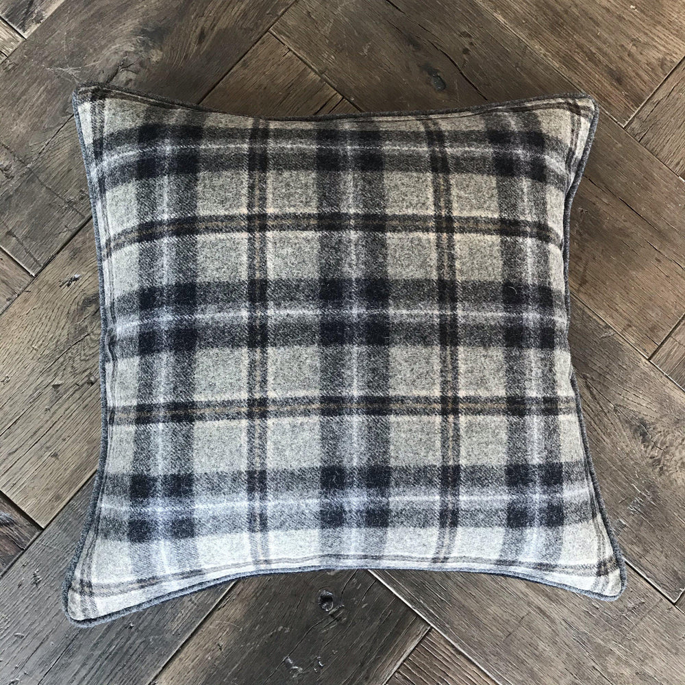 British Tartan Plaid Pillow with Gray, Gold and Black Tones