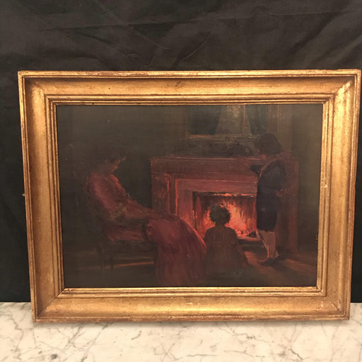 Henri Charles Angeniol (1870-1969) French Oil Painting Fireplace Scene