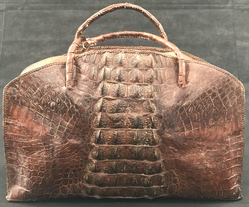Early 20th century crocodile bag antique for sale