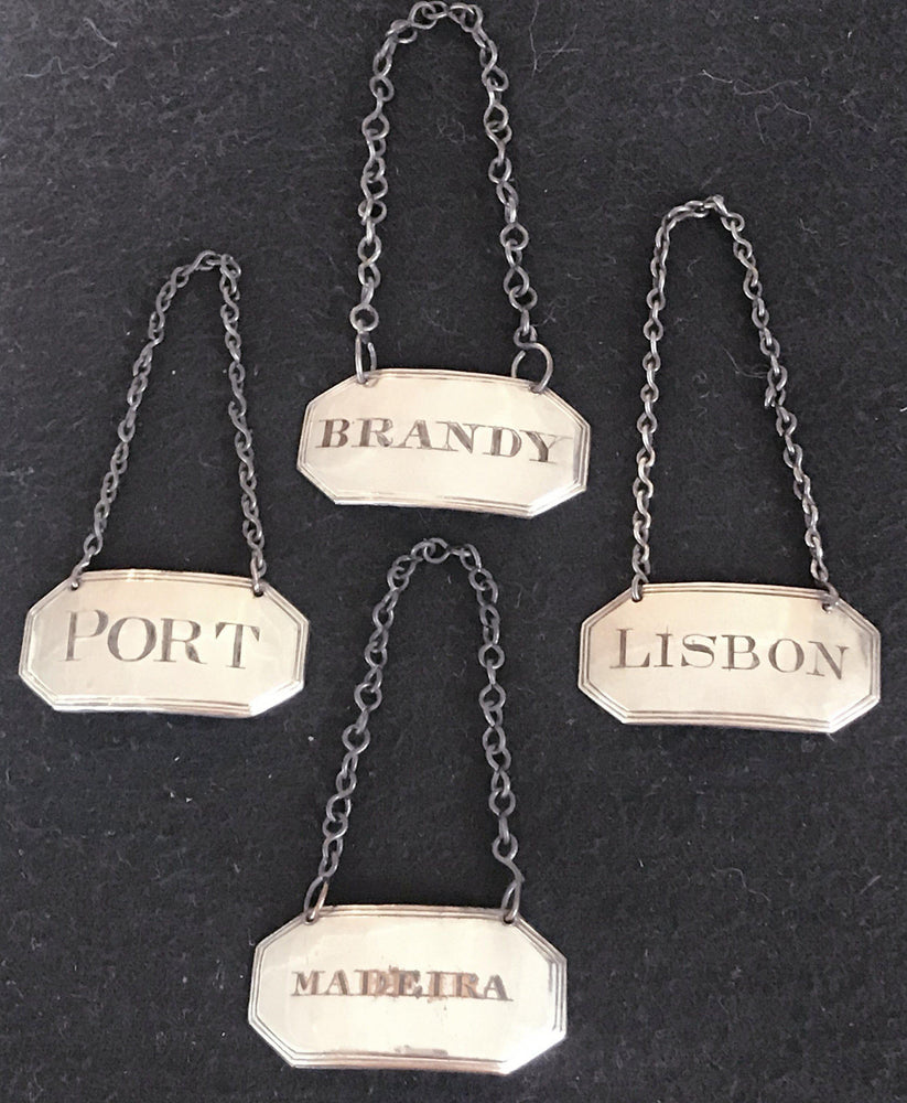 For sale: Super early 1790 British Silver Sheffield Set of Four Liquor/Wine Labels