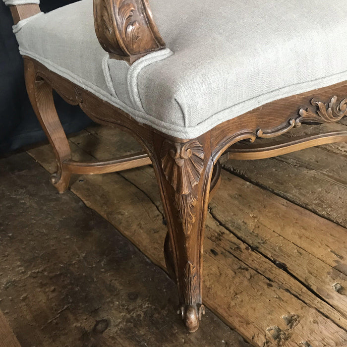 19th Century Walnut Carved French Louis XV Armchair