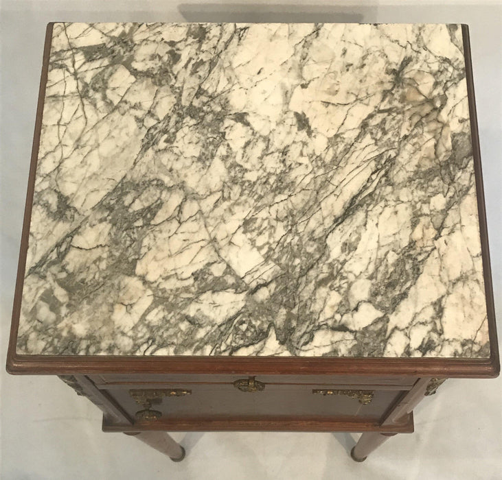French Louis XVI Marble Top Nightstand with Marble Interior
