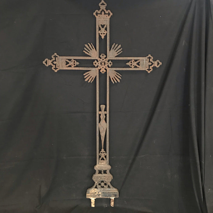 "Tall (5'9.5"") French Early Iron Cross with Crown, Snake and Dagger Detail"