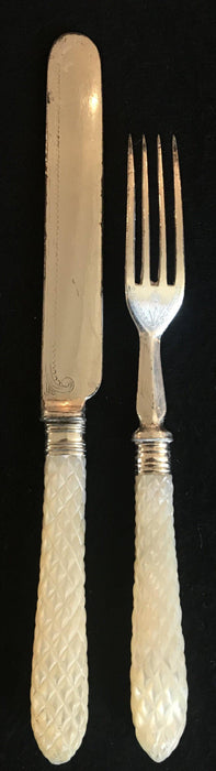 for sale: Early carved Mother of Pearl Fork/Knife set