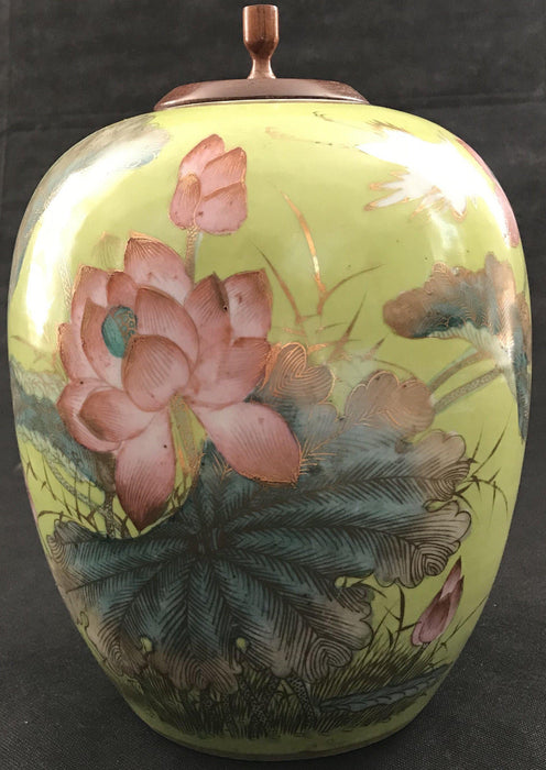 Temple jar or Ginger Jar Hand Painted for sale