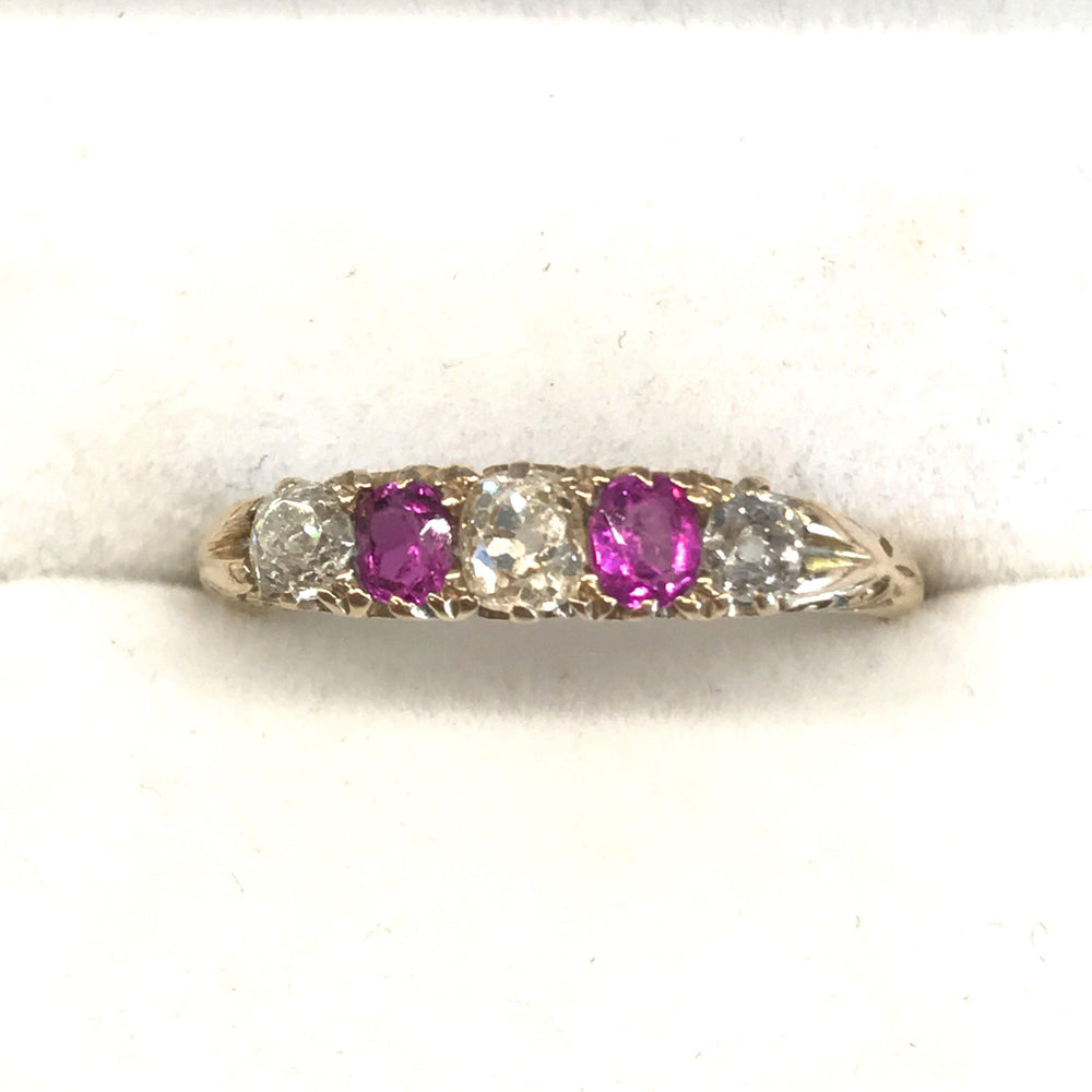 British Antique Diamond and Ruby 18 Carat Gold Ring