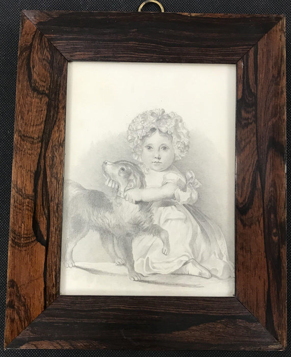 Early British Pencil / Charcoal Drawing Child and Pet Dog in Rosewood Frame for sale