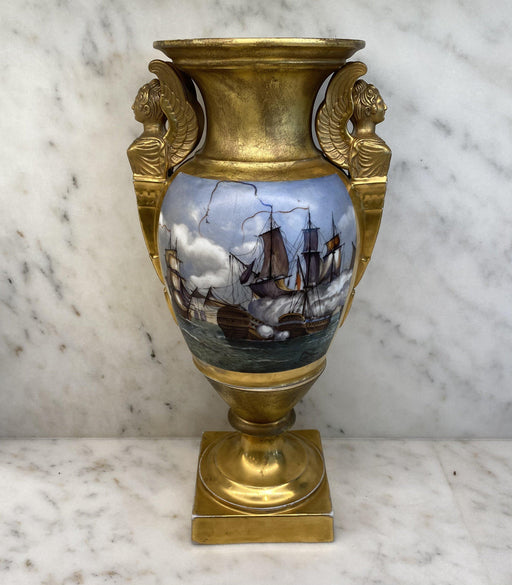 French Hand Painted Gold Gilt Vase Depicting Ships in Battle and Coat of Arms