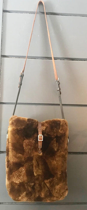 British Sheepskin Fur Purse/Bag with Belgian Postal Wallet Pocket and Quilted Silver Lining with Bridle leather straps for sale