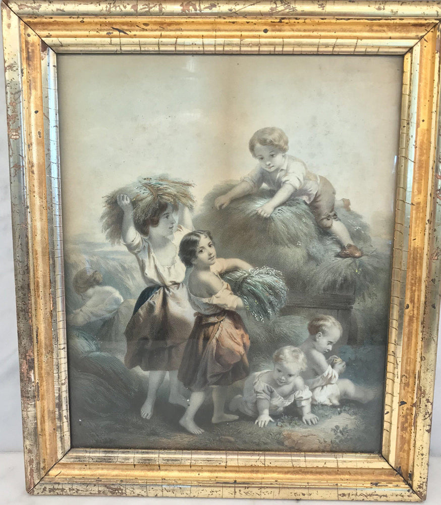 For sale: Early French Haying Scene with Children in Lemon Gold Frame