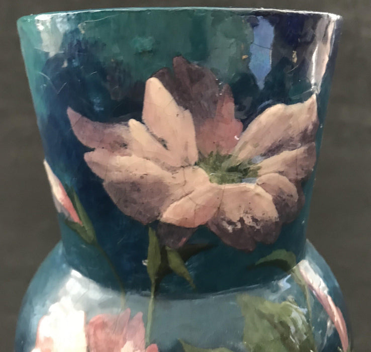 Early charming Hand Painted French Floral Antique Vase