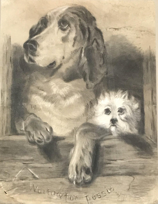 "British dog art signed dated 1887 ""Waiting for Jessie"", hunting dog, early artist"