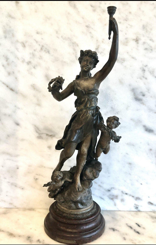 """Avenir et Fortune"" Bronze French Statue Signed by Kossowski and Stamped Paris"