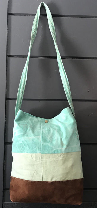 British Artist-made Bag/Purse of vintage turquoise canvas tarpaulin with original handles to sell gorgeous
