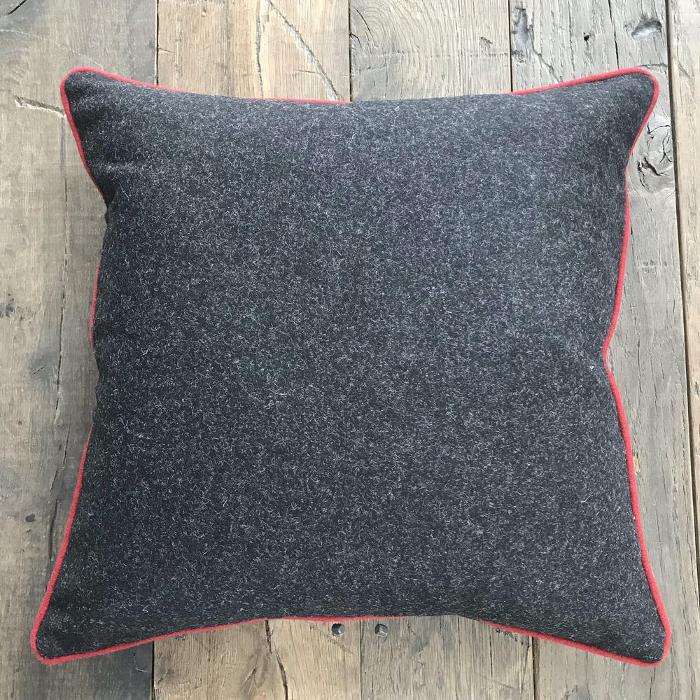 British Gray Wool Flannel Pillow with Red Contrast Piping (New) for sale
