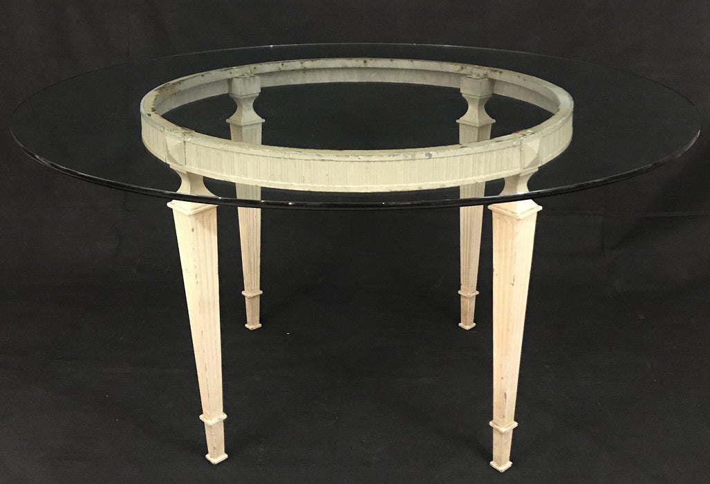 To Sell: French Glass Top Round Table Original Paint