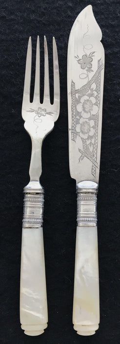British Mother of Pearl/Silver Fork and Knife Set (Hallmarked)
