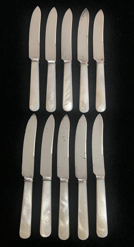 British Mother of Pearl and Silver Knives, Set of 10 for sale