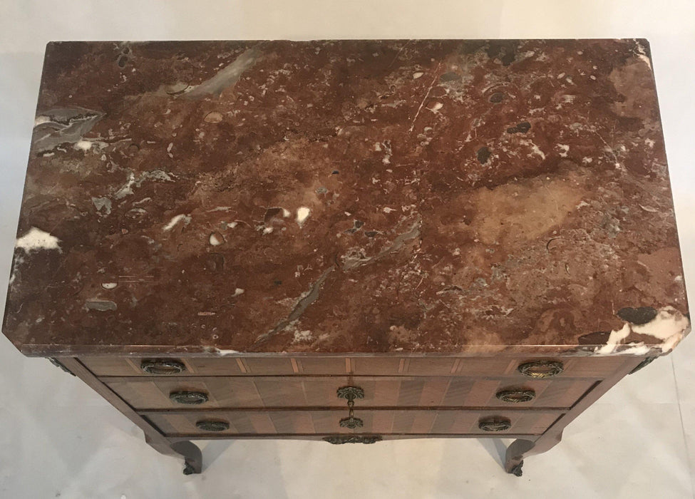 French Inlaid Marquetry Three-Drawer Commode with Marble Top To Buy
