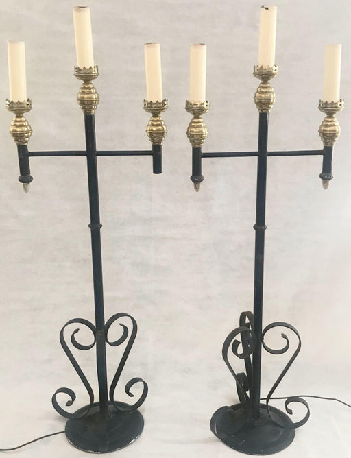 For sale: Pair of French Antique Wrought Iron and Brass Torchieres from an old Cathedral / Pair of Tall Floor Lamps