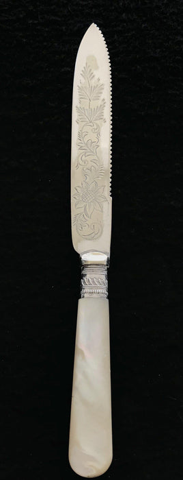 English Mother of Pearl Cake Knife (hallmarks) for sale