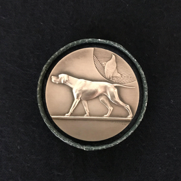 buy this Signed French Gold Dog Medal: Exposition Canine D'Albi 16 Juin 1935 setter, retriever, dog coin