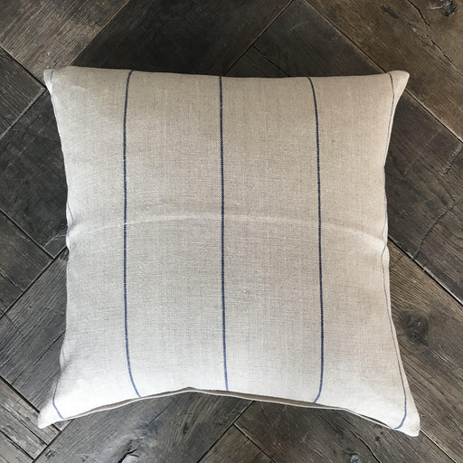 British Pillow made from French Linen/Cotton Blend: Neutral Beige with Navy Blue Pinpoint