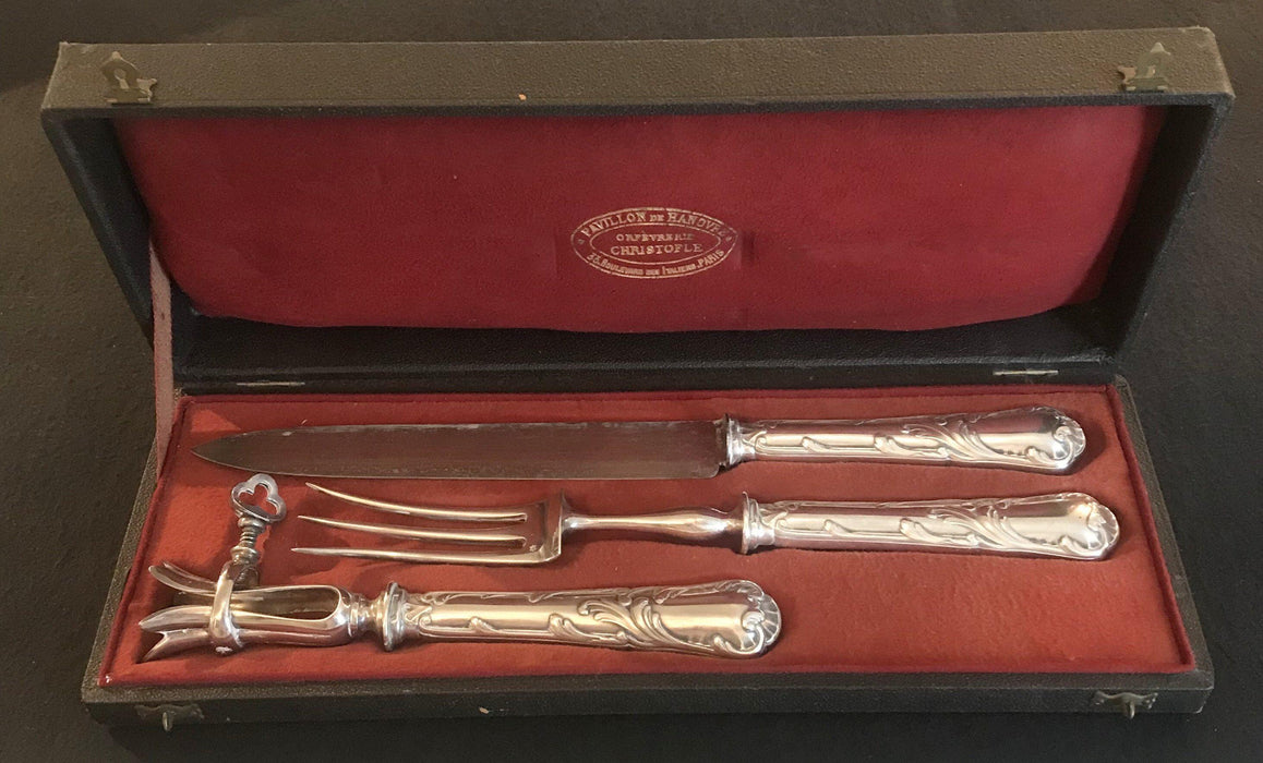 Three Piece Christofle French Meat Serving Set in Original Box for sale