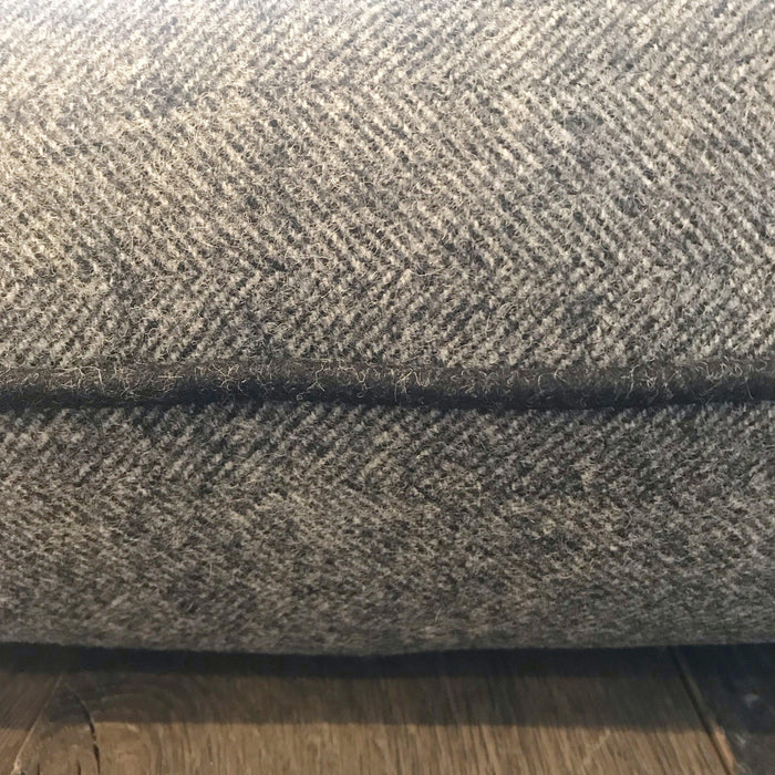 Buy this British Traditional Gray Wool Herringbone Pillow with Black Contrast Piping