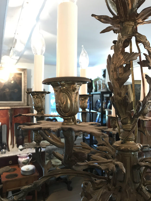 34 Inch High French Antique Bronze 16 Light Chandelier (Rewired for the US)
