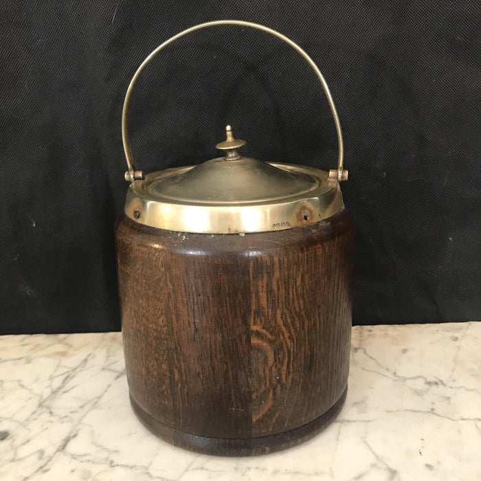 1924 English Oak Biscuit Barrel with Silver Crest