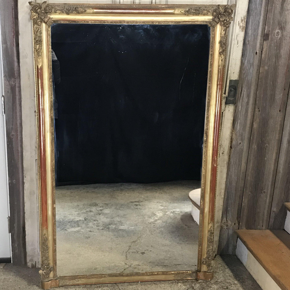 Large 19th Century French Gold Carved Giltwood Mirror; Romantic Design