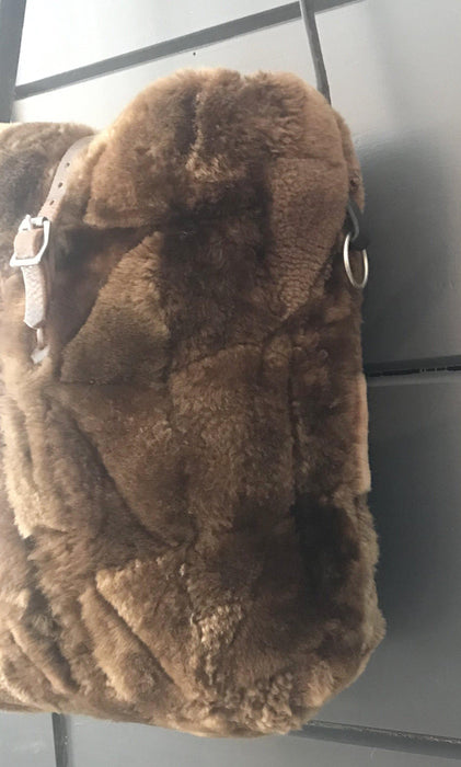 for sale: British Sheepskin Fur Purse/Bag with Belgian Postal Wallet Pocket and Quilted Silver Lining with Bridle leather straps