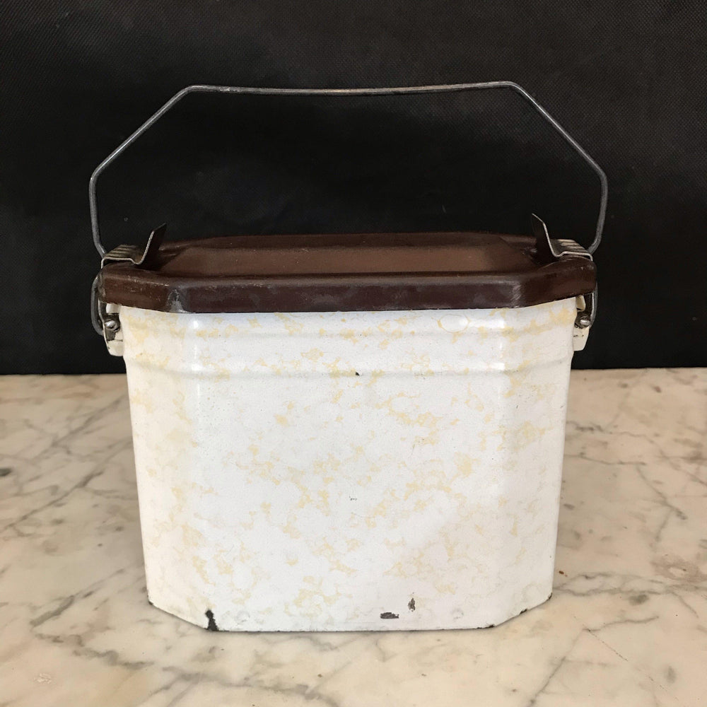 Antique French Enamel Lunch Box Cream and White with Black Top