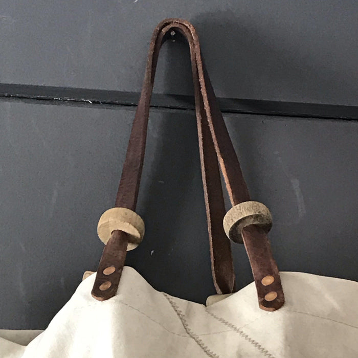 French Sail Purse/Bag with British Bank Coin Exterior Pocket, Leather Handles w/British Military Tent Wooden Toggles