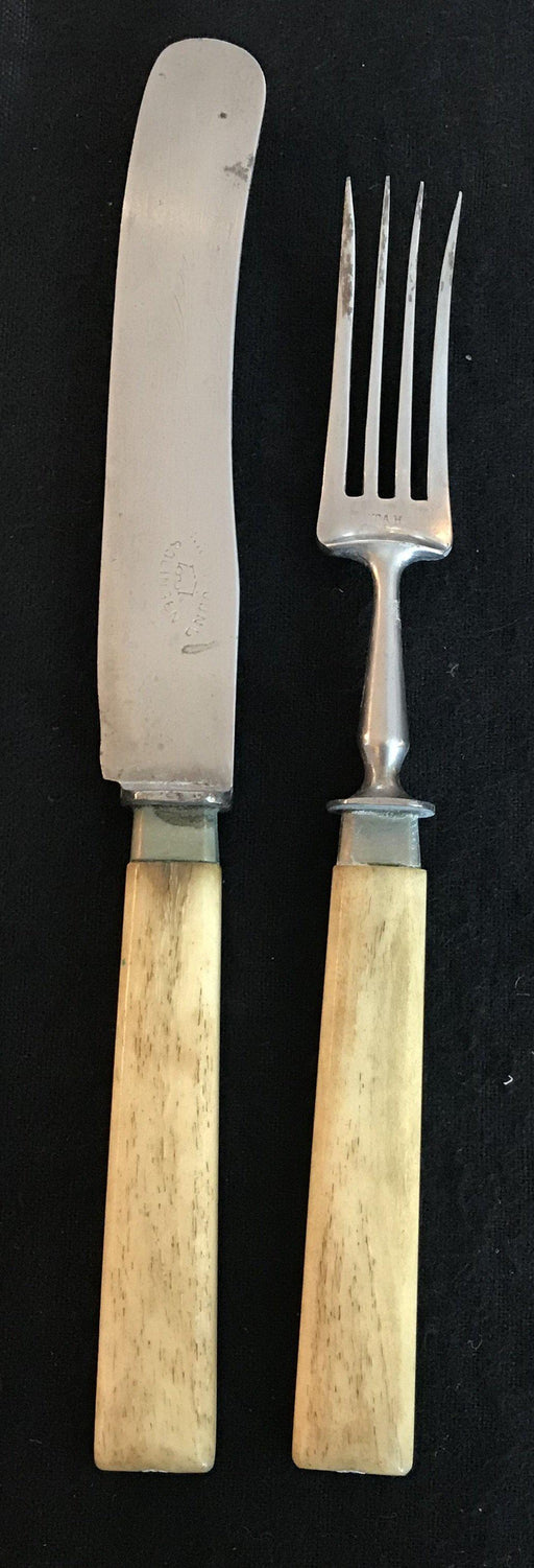 Bone Fork and Knife Set from England - good condition for sale historic