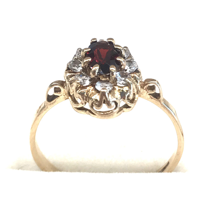 British Garnet Ring with 8 CZ or White Sapphire Stones