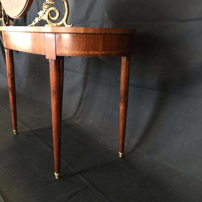 French Inlaid Walnut Gilt-Bronze Mounted Dressing Table with Candelabra Arms