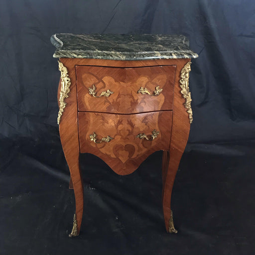 French Louis XV Marquetry with Green Marble Top Nightstand or Side Table
