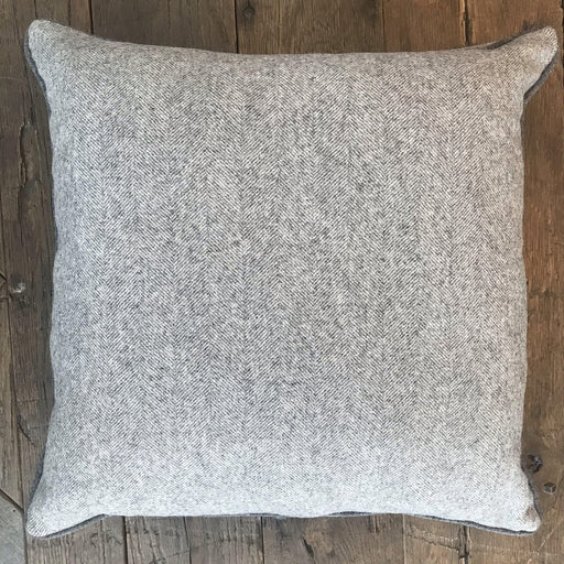 British Gray Herringbone Wool Pillow, Contrast Piping, Gray Flannel on Reverse (New) for sale