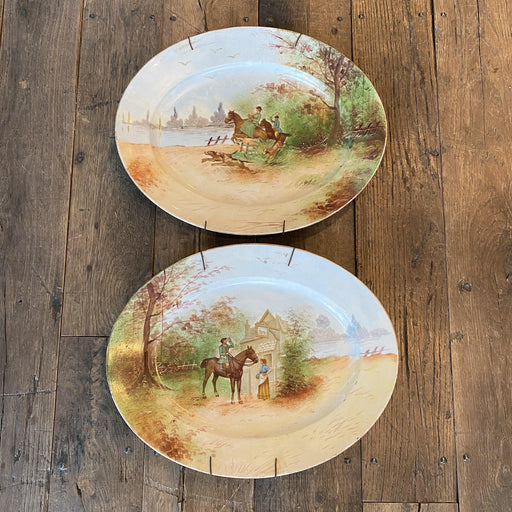 Pair of Limoges, France Hunting Equestrian Hand Painted Platters