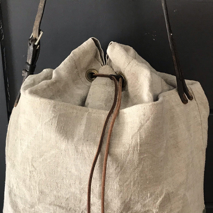 Buy this French Linen Duffle Bag/Purse with Belgian postal wallet and vintage bridle leather strap