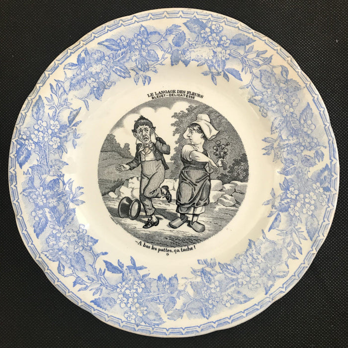 Rare to buy: Set of Five French Plates - Language of Flowers/Le Langage des Fleurs - Humorous!