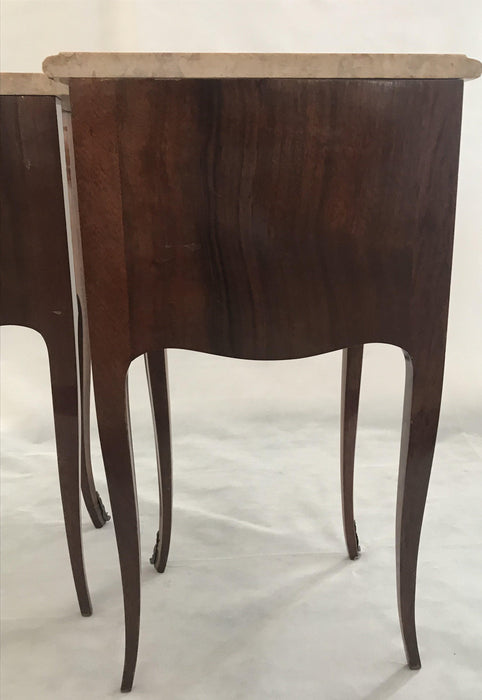 Pair of French Inlaid Two-Drawer Marble Top Nightstands To Sell