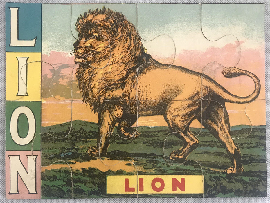 Five Early Animal Puzzles of Lion, Zebra, Elephant, Tiger and Bear for sale