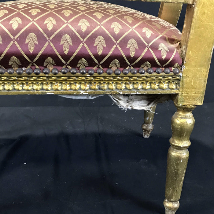 Original French Louis XV Gold Gilt Arm Chair