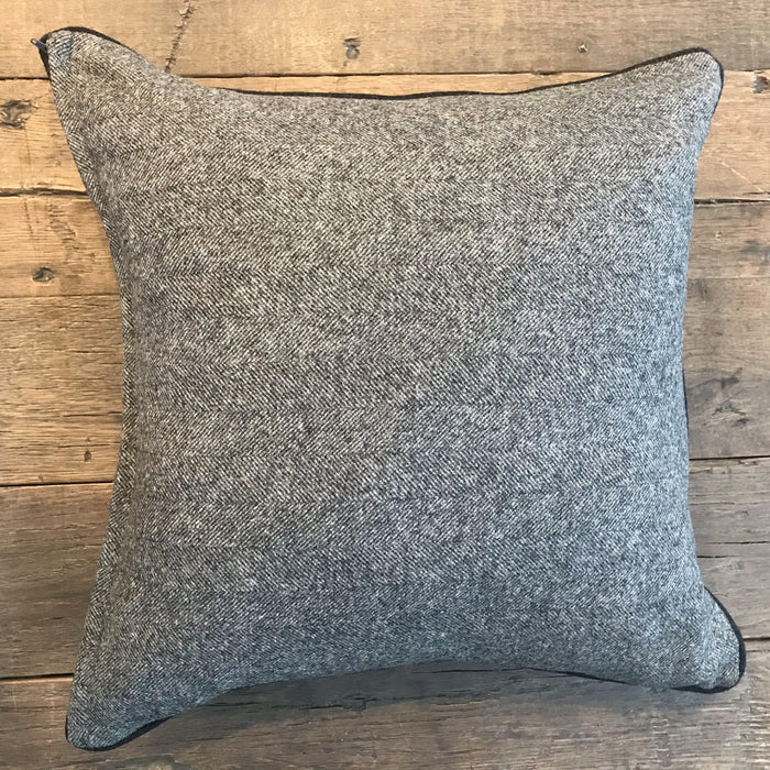 British Traditional Gray Wool Herringbone Pillow with Black Contrast Piping to buy