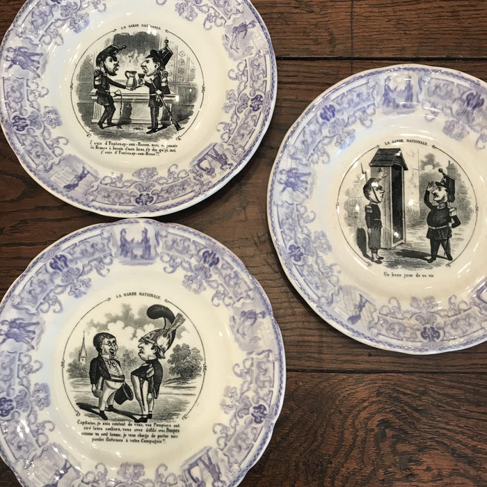 French Antique Sarrequemines Faience Plate Set