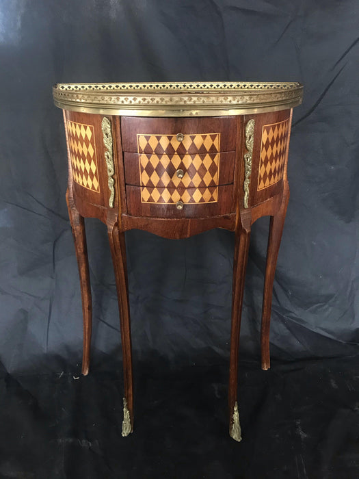 French Diamond Marquetry Side Table or Nightstand